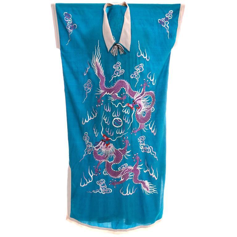 Vintage Caftan Chinese Blue Fine Silk Purple Dragon Embroidery Kaftan One Size