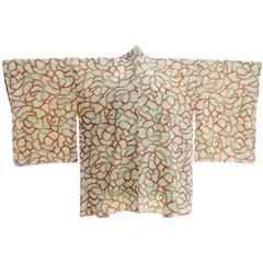 Vintage 1940s Silk Haori Kimono in Abstract Red Green & Brown Print