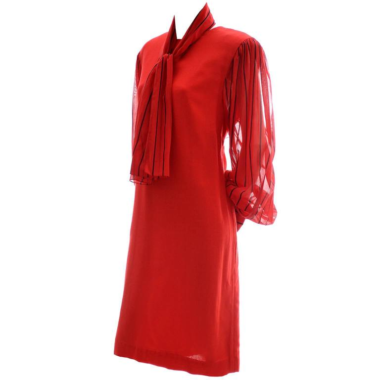 Pauline Trigere Vintage Red Dress and Scarf Linen Blend Saks Fifth Avenue 80s