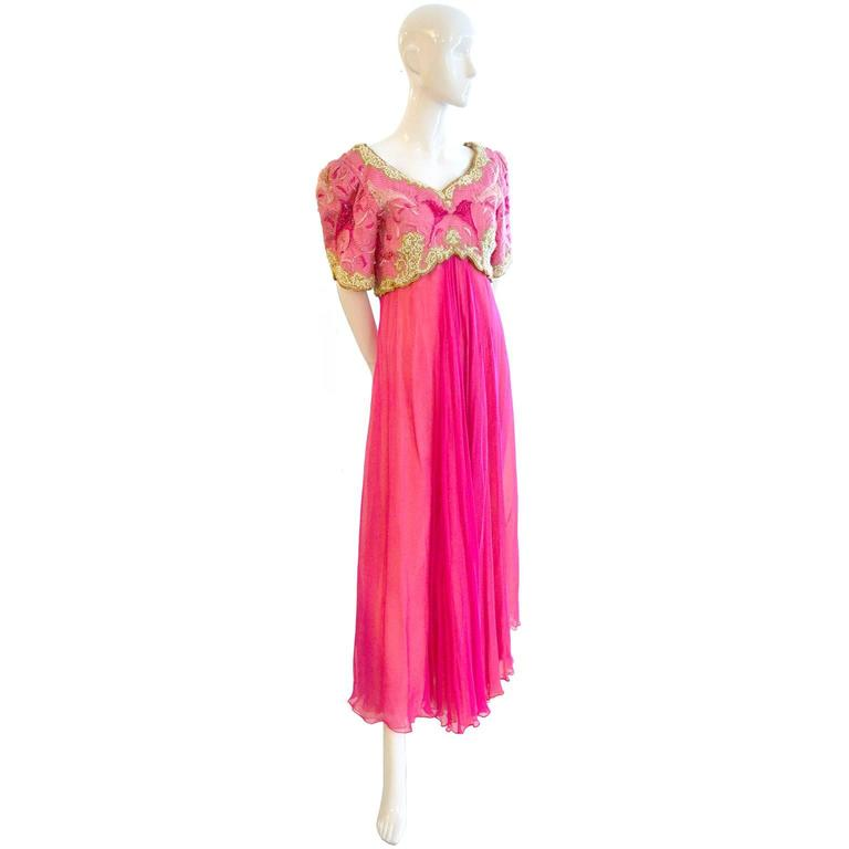 Richilene Vintage Dress Embroidered Beaded Evening Gown Neiman Marcus Silk For Sale 1