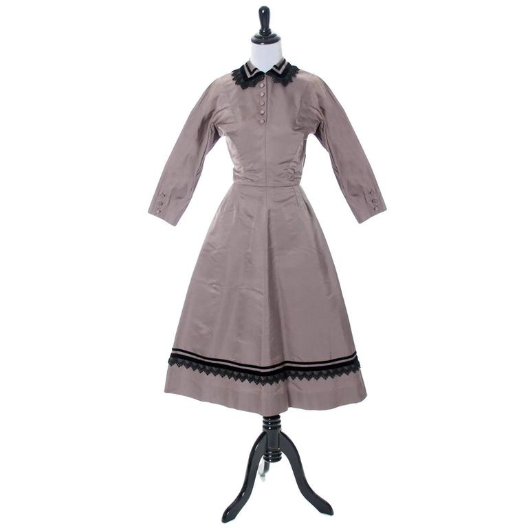 Rare Style Harvey Berin Karen Stark Vintage Dress 1950s Lace Trim 4 In Excellent Condition For Sale In Portland, OR