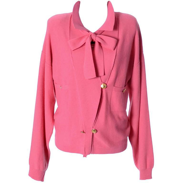 1980s Sonia Rykiel 2 Pc Wool Set Pink Striped Sweater Top Solid Cardigan 8/10