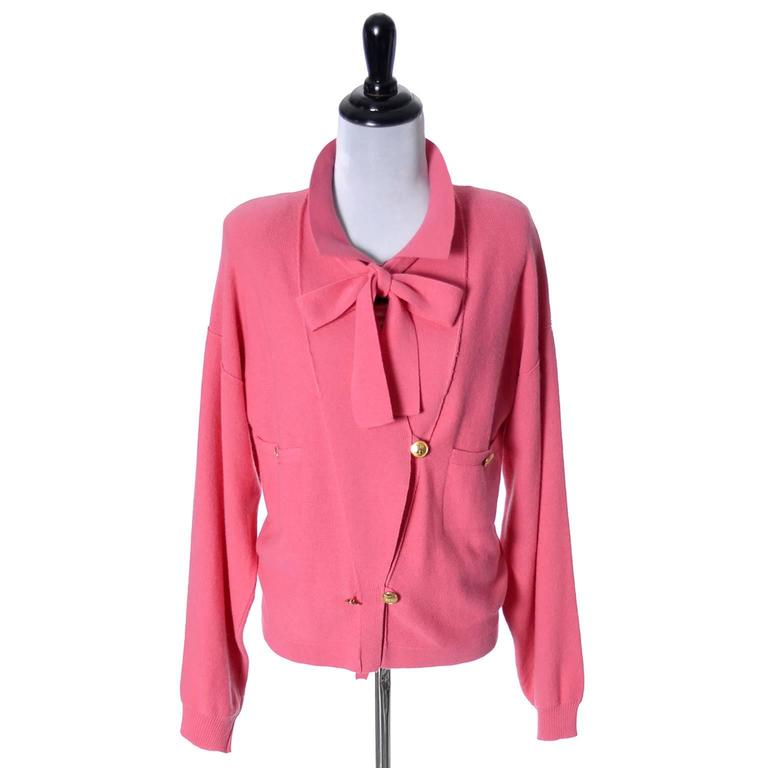 1980s Sonia Rykiel 2 Pc Wool Set Pink Striped Sweater Top Solid Cardigan 8/10 For Sale 1