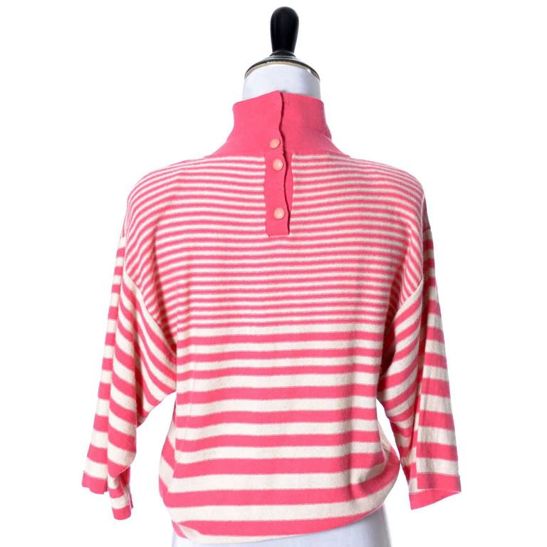 Women's 1980s Sonia Rykiel 2 Pc Wool Set Pink Striped Sweater Top Solid Cardigan 8/10 For Sale
