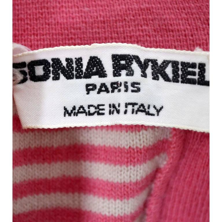 1980s Sonia Rykiel 2 Pc Wool Set Pink Striped Sweater Top Solid Cardigan 8/10 For Sale 4