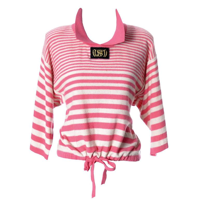 1980s Sonia Rykiel 2 Pc Wool Set Pink Striped Sweater Top Solid Cardigan 8/10 For Sale 3
