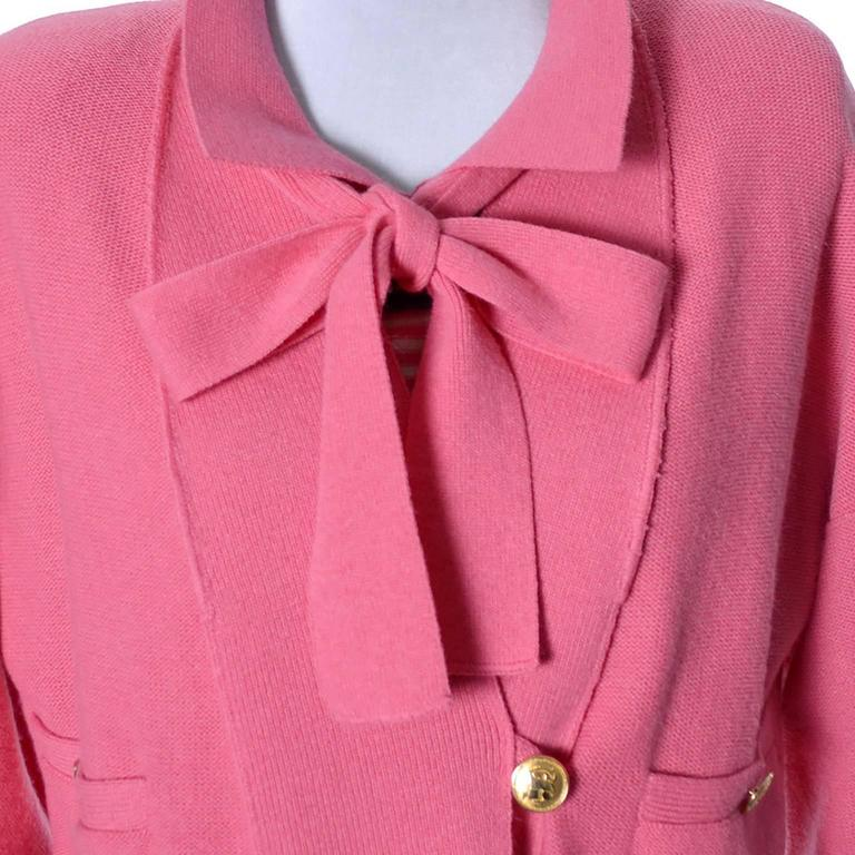 1980s Sonia Rykiel 2 Pc Wool Set Pink Striped Sweater Top Solid Cardigan 8/10 In Excellent Condition For Sale In Portland, OR