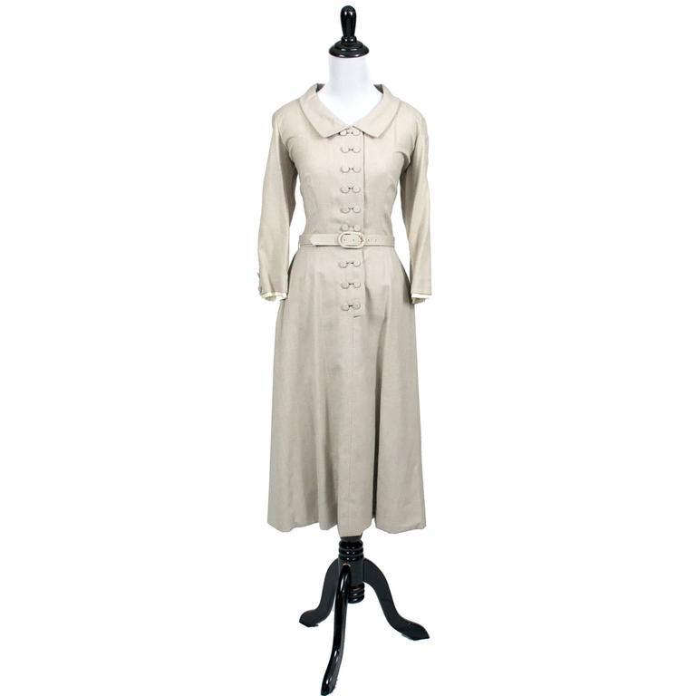 Beige Harvey Berin Karen Stark Ecru Vintage Dress Documented in Harpers Bazaar 1950s