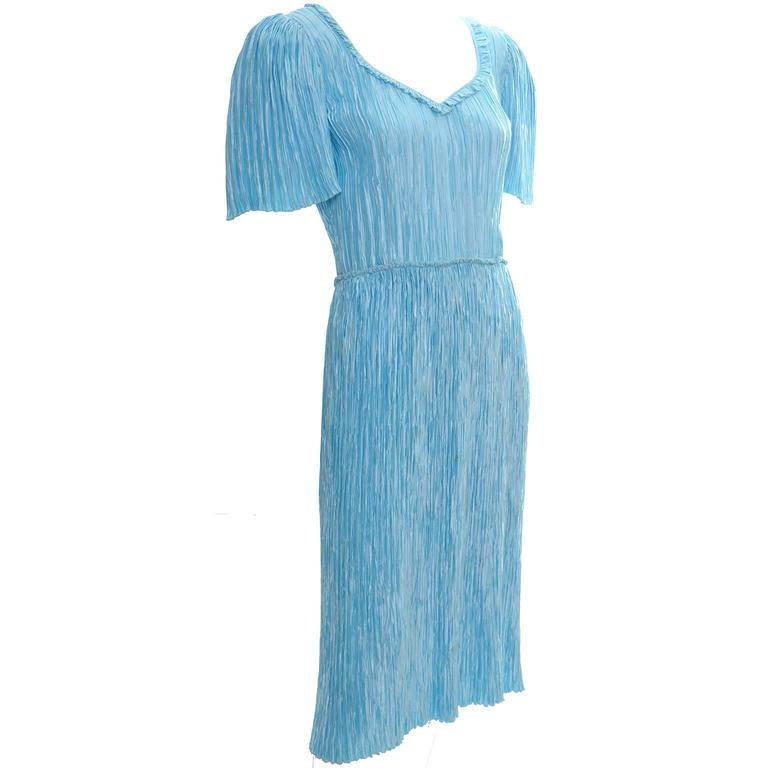 Mary McFadden Couture Vintage Dress Blue Pleated Size 4