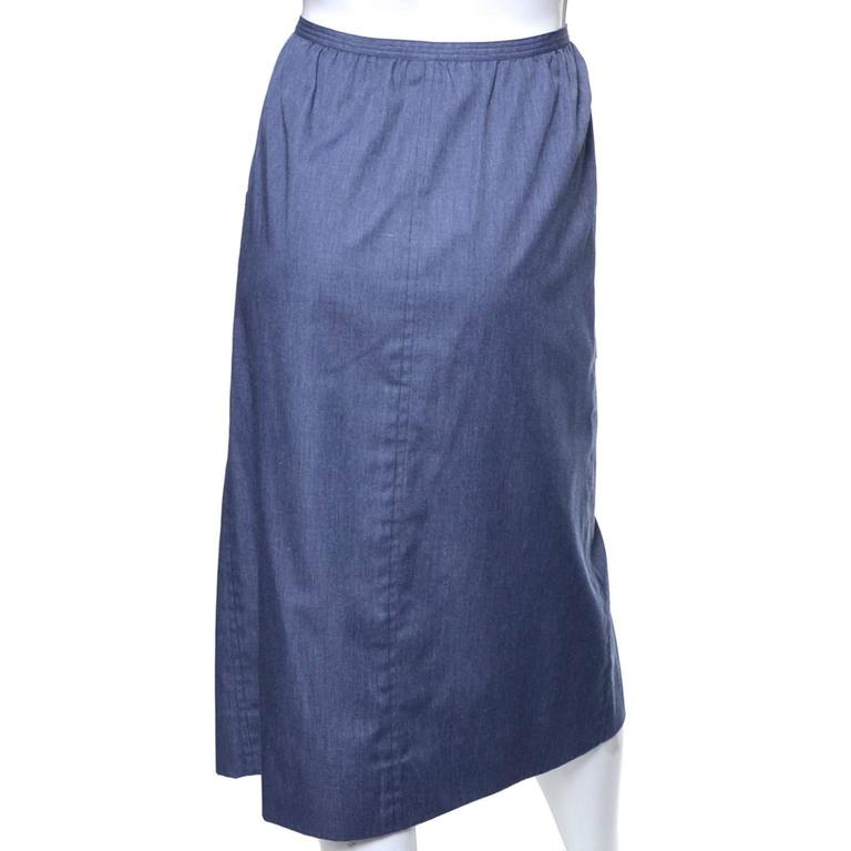 Purple 1970s YSL Vintage Skirt Faux Wrap Chambray Yves Saint Laurent As New  For Sale