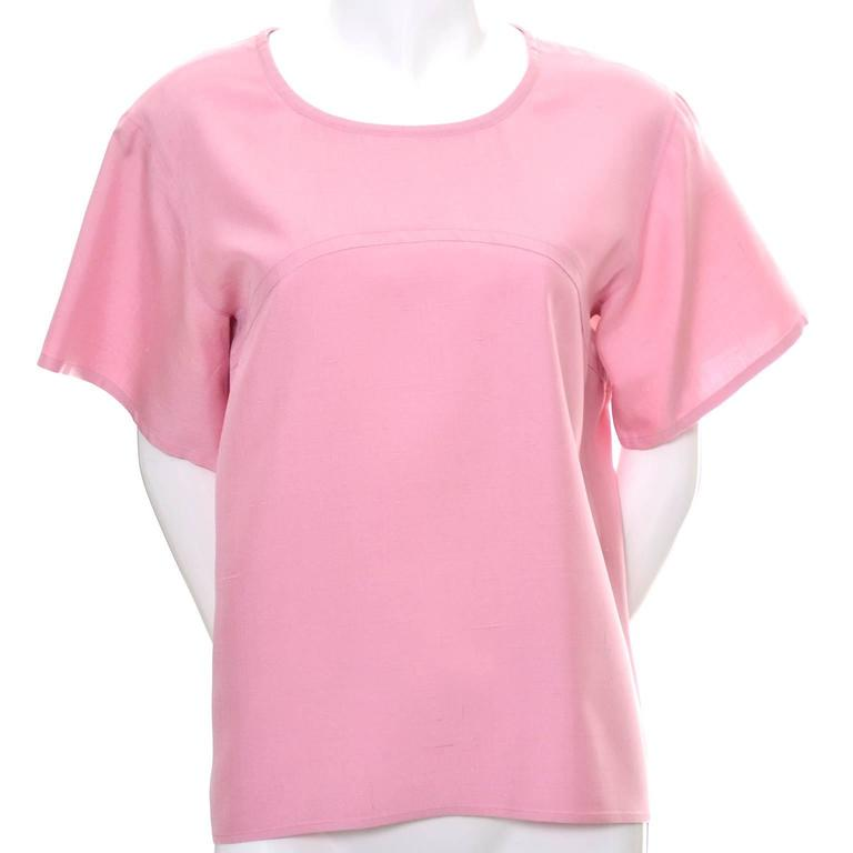 YSL Vintage Top Pink Silk Minimalist Yves Saint Laurent French Size 36 US 4 In Excellent Condition For Sale In Portland, OR