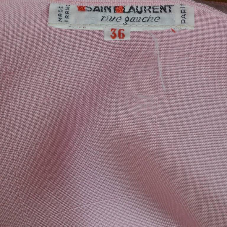 YSL Vintage Top Pink Silk Minimalist Yves Saint Laurent French Size 36 US 4 For Sale 1