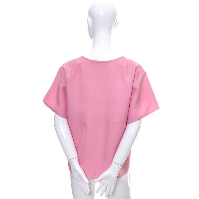 Women's YSL Vintage Top Pink Silk Minimalist Yves Saint Laurent French Size 36 US 4 For Sale