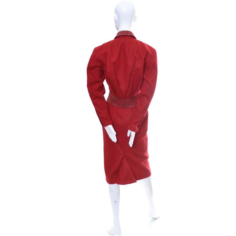 1980s Claude Montana Studded Red Wool Vintage Dress With Kick Pleat In Excellent Condition For Sale In Portland, OR