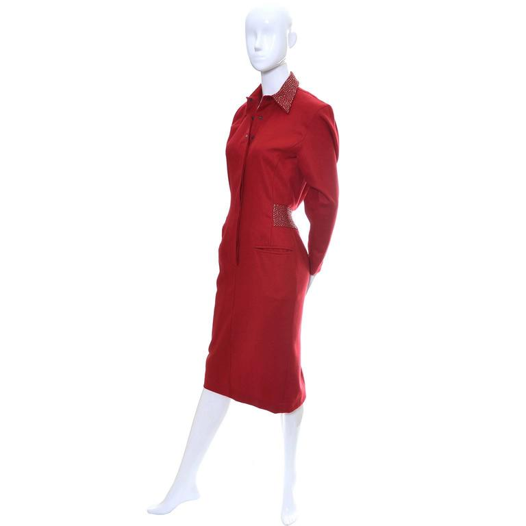 1980s Claude Montana Studded Red Wool Vintage Dress With Kick Pleat For Sale 3