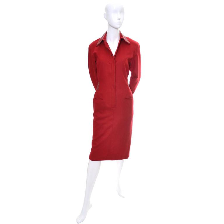 1980s Claude Montana Studded Red Wool Vintage Dress With Kick Pleat For Sale 2