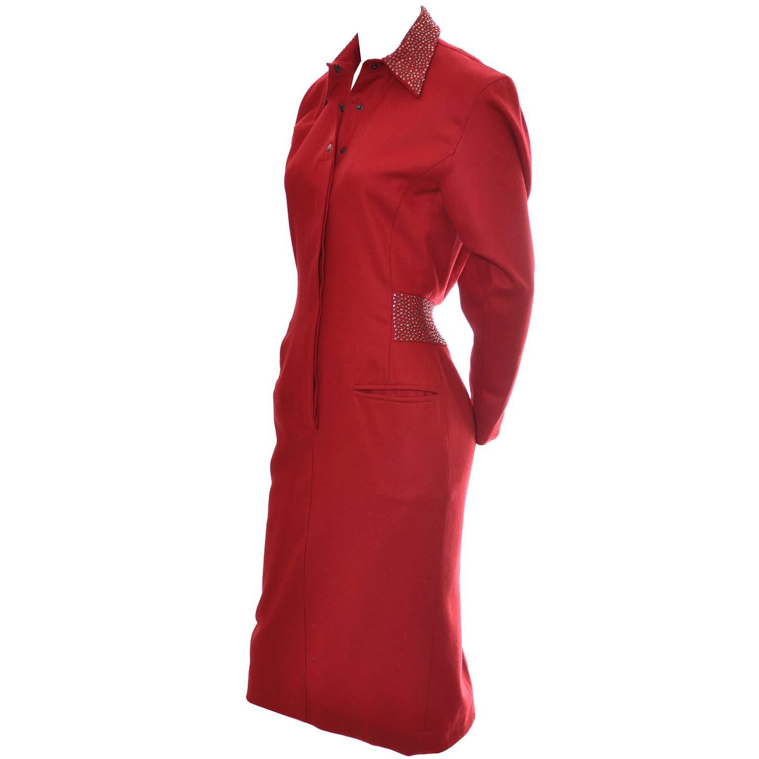 1980s Claude Montana Studded Red Wool Vintage Dress With Kick Pleat