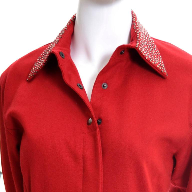 Women's 1980s Claude Montana Studded Red Wool Vintage Dress With Kick Pleat For Sale