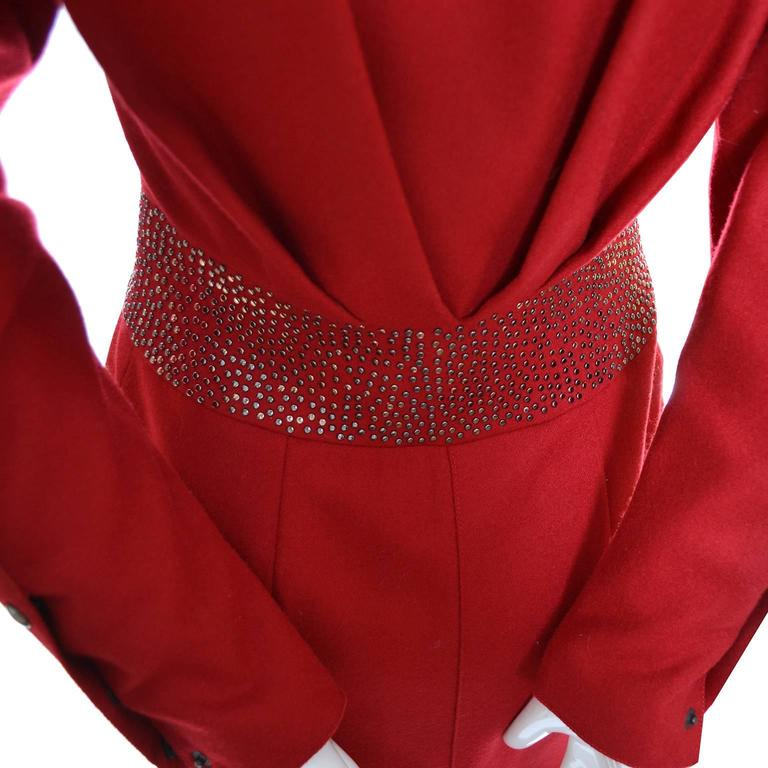 1980s Claude Montana Studded Red Wool Vintage Dress With Kick Pleat For Sale 4