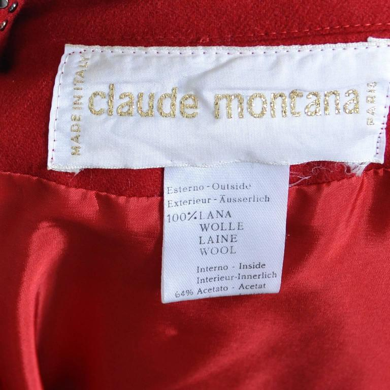 1980s Claude Montana Studded Red Wool Vintage Dress With Kick Pleat For Sale 5