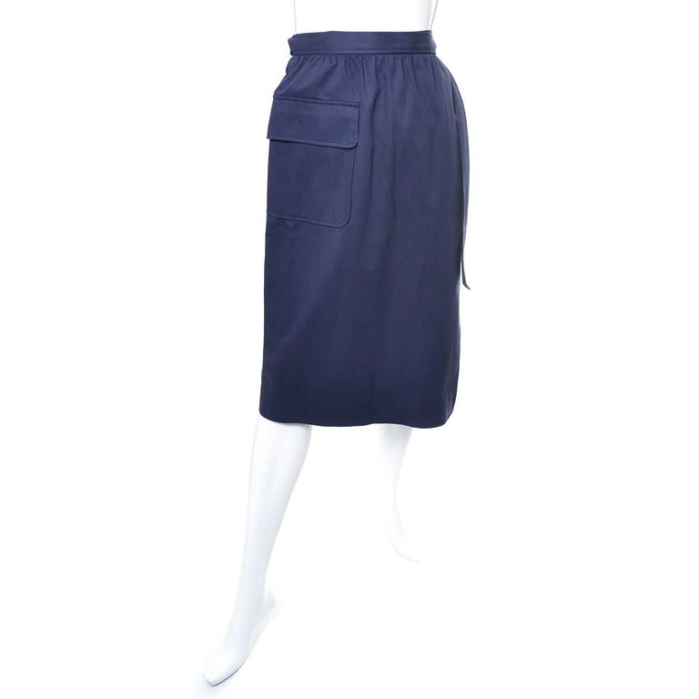 This vintage navy blue summer wrap skirt from YSL is from an incredible estate of vintage clothing that included many vintage Yves Saint Laurent pieces from the 1970's.  This skirt is in excellent condition and is labeled a French size 40 which is