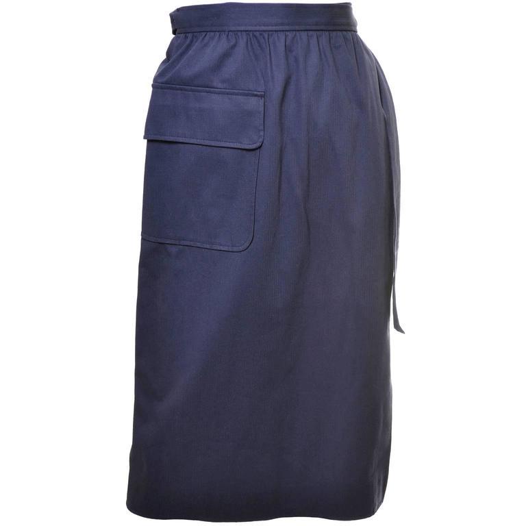 1970s Vintage YSL Skirt Navy Blue Wrap Skirt French Size 40 US 8