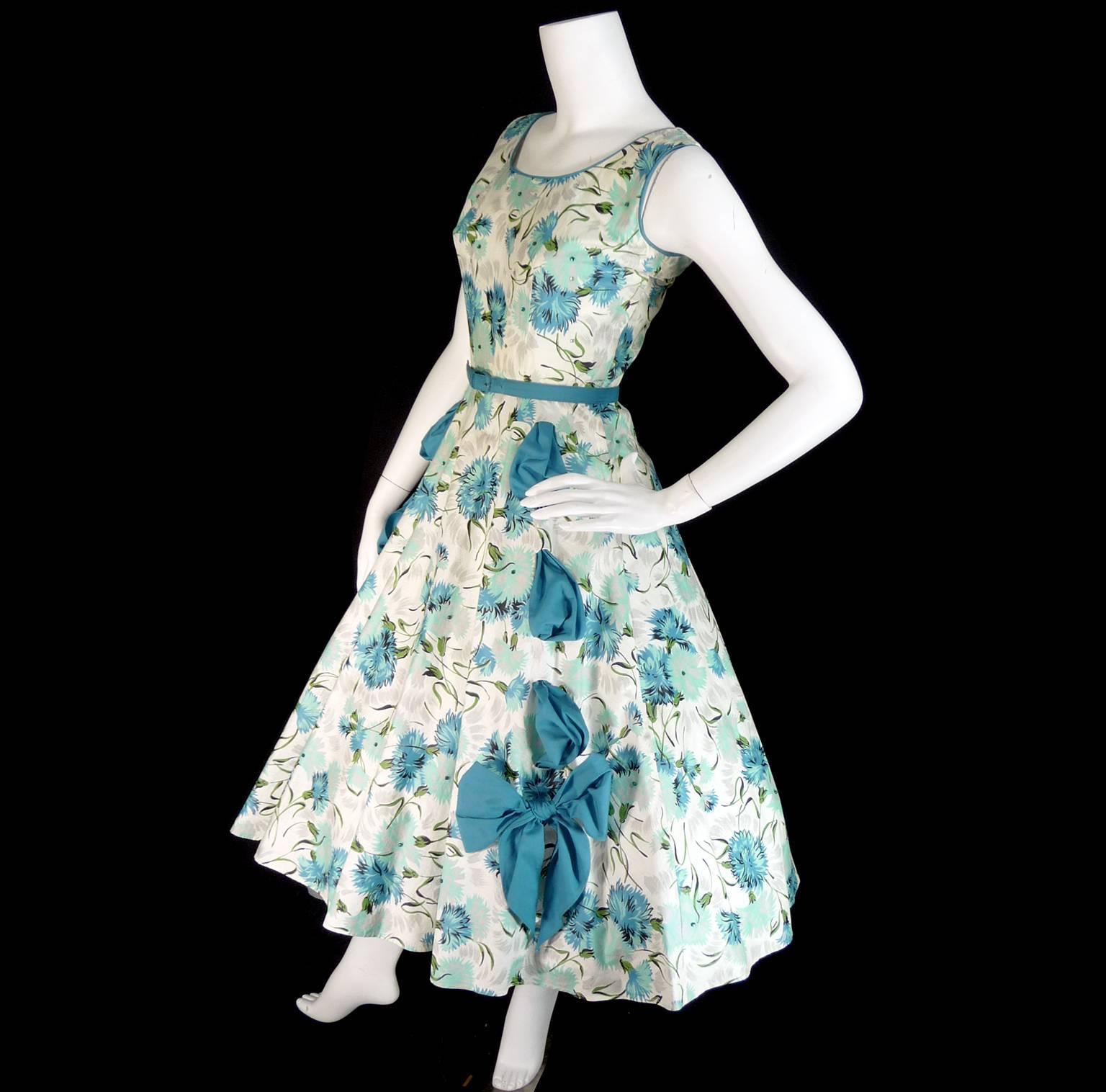 1950s Blue Floral Vintage Dress Rhinestones Bows 50s Full Skirt Size ...