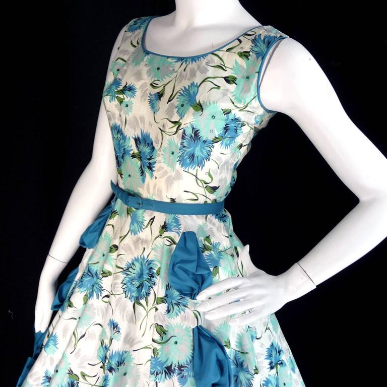 1950s Blue Floral Vintage Dress Rhinestones Bows 50s Full Skirt Size 6/8 For Sale 3