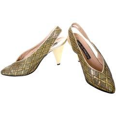 Maud Frizon Vintage Shoes Gold Metallic Black Sling Backs Heels Italy 38 7.5