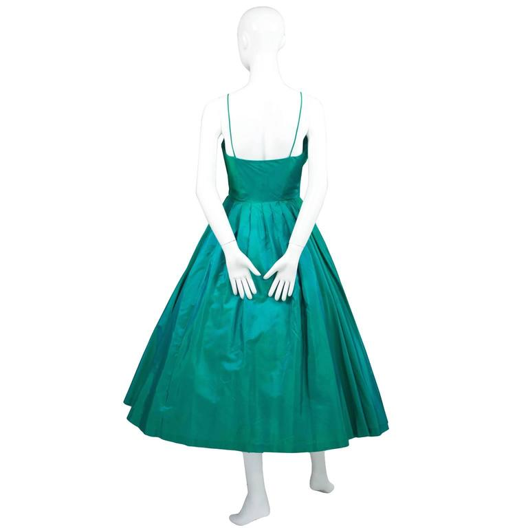 Sensational 1950s Vintage Dress Iridescent Green Pleating Bow 2/4 4