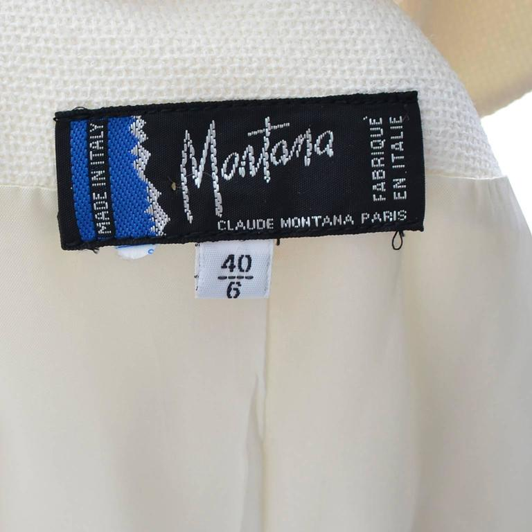 1980s Claude Montana Vintage Blazer Jacket Size 6 Cream Silk  For Sale 1