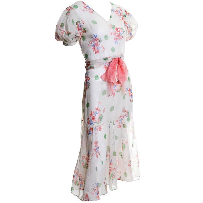 1930s Vintage Dress Bias Cut Floral Organdy Day Dress Bridesmaid For ...