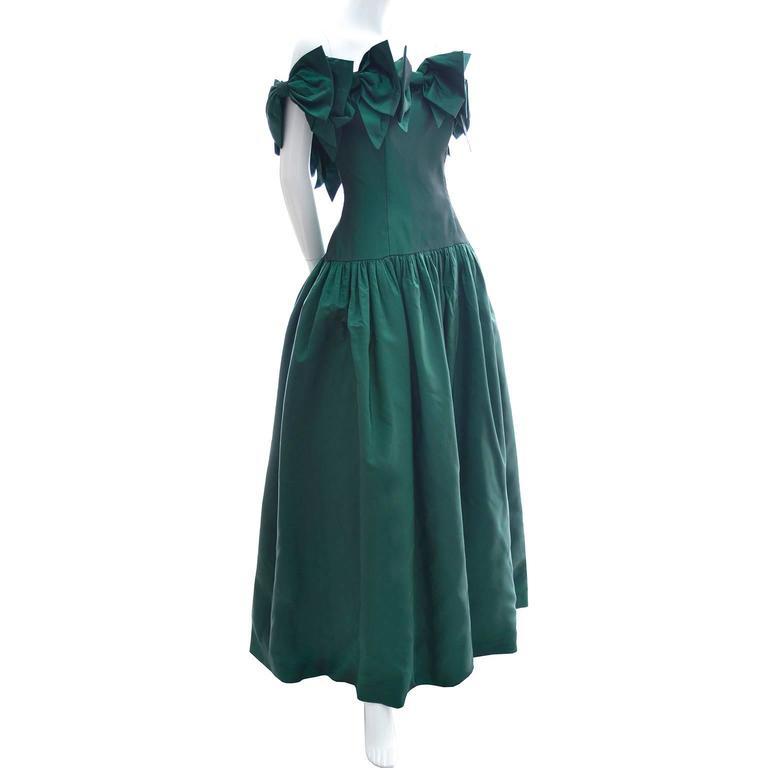 Victor Costa 1980s Vintage Dress Iridescent Green Ballgown Evening Gown 6/8 2