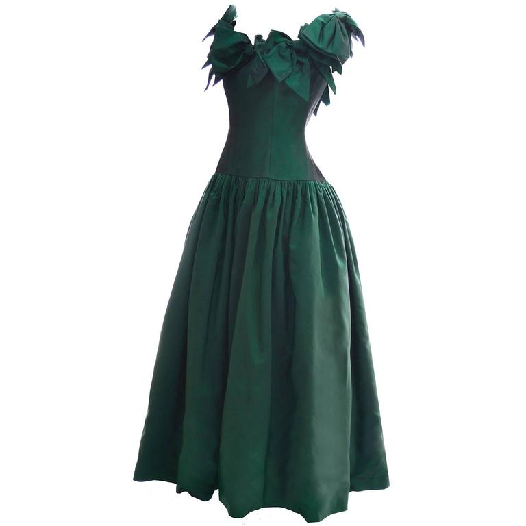 Victor Costa 1980s Vintage Dress Iridescent Green Ballgown Evening Gown 6/8