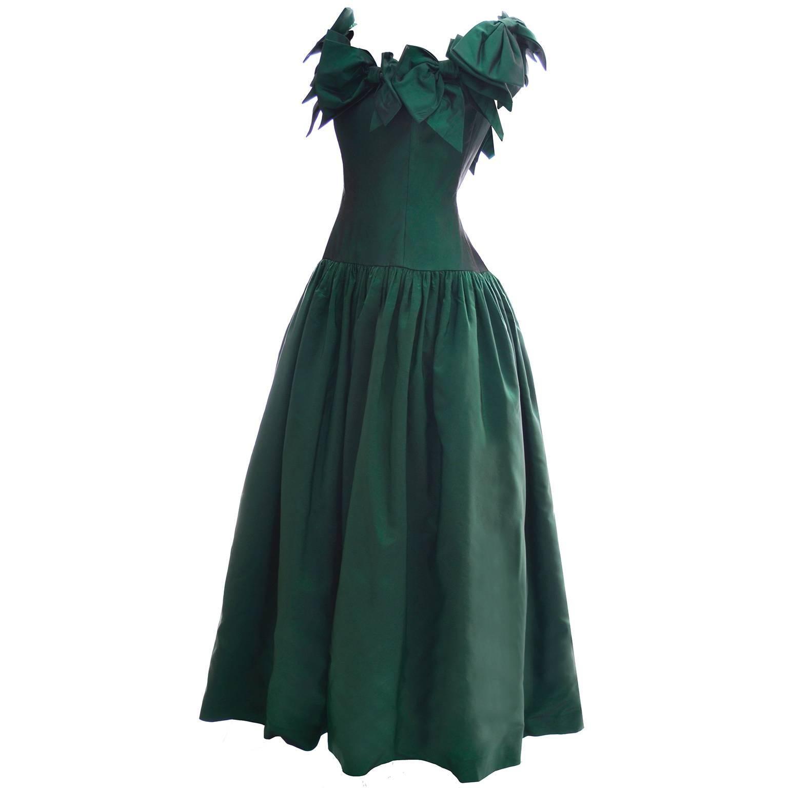 Victor Costa 1980s Vintage Dress Iridescent Green Ballgown Evening ...