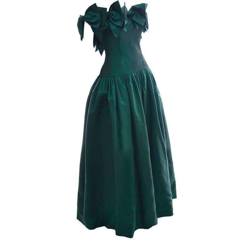 Victor Costa 1980s Vintage Dress Iridescent Green Ballgown Evening Gown 6/8 5