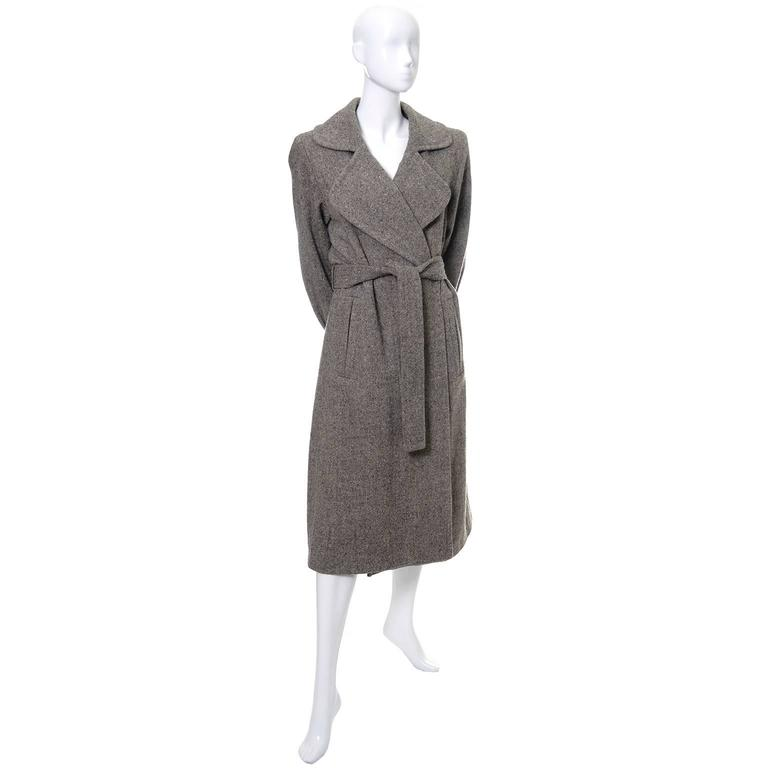 Wool 1990s Vintage YSL Trench Coat Tweed Yves Saint Laurent France Size 38 6/8 2