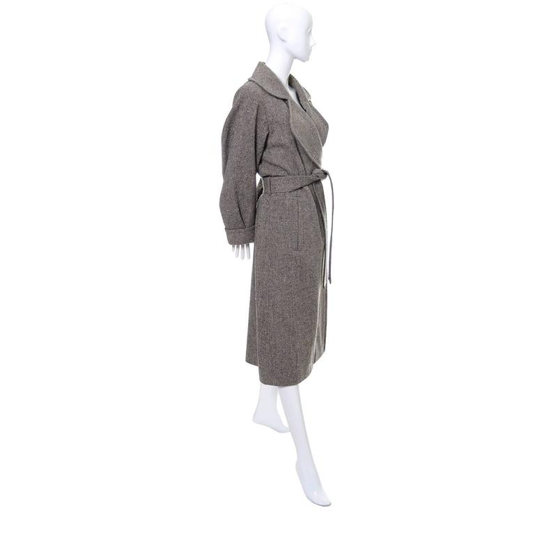 Wool 1990s Vintage YSL Trench Coat Tweed Yves Saint Laurent France Size 38 6/8 3