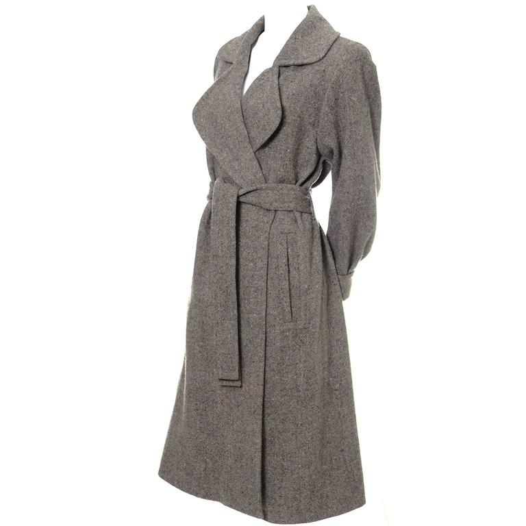 Wool 1990s Vintage YSL Trench Coat Tweed Yves Saint Laurent France Size 38 6/8 1
