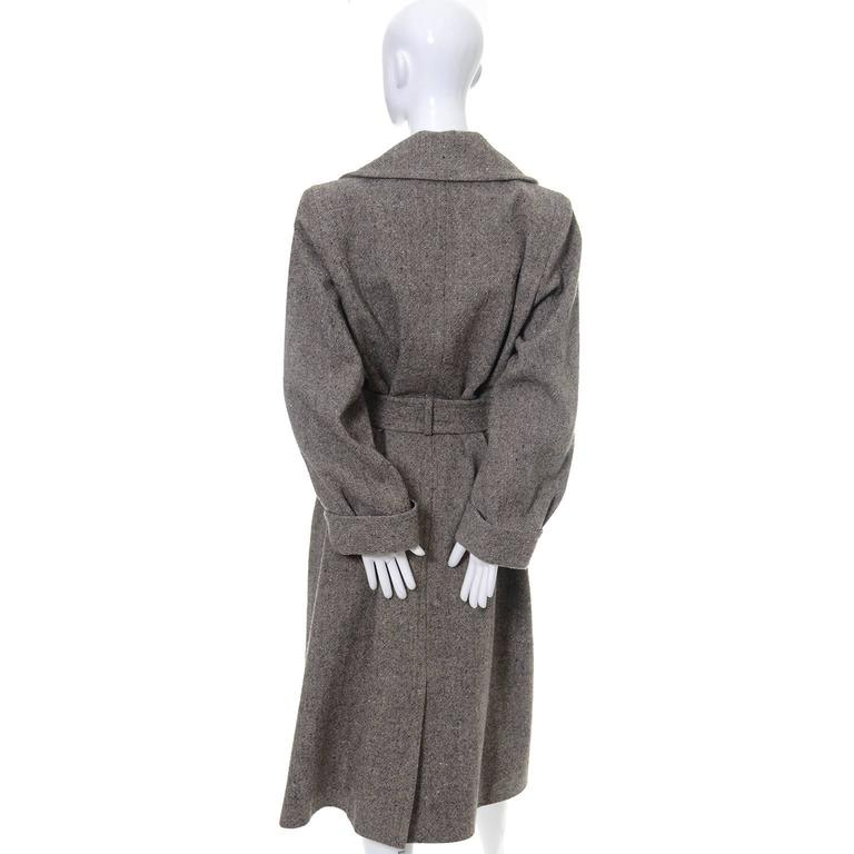 Wool 1990s Vintage YSL Trench Coat Tweed Yves Saint Laurent France Size 38 6/8 4