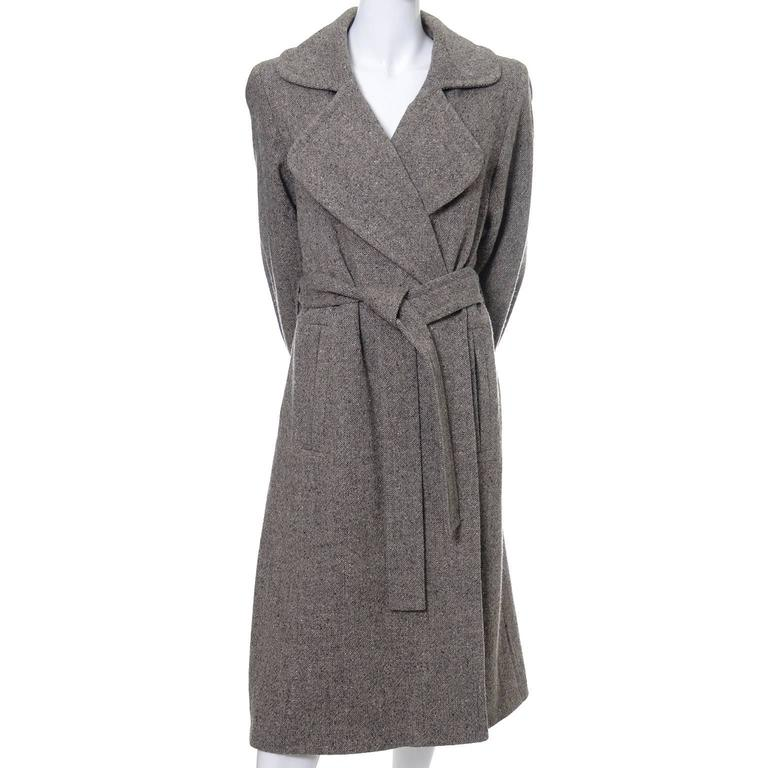 Wool 1990s Vintage YSL Trench Coat Tweed Yves Saint Laurent France Size 38 6/8 5