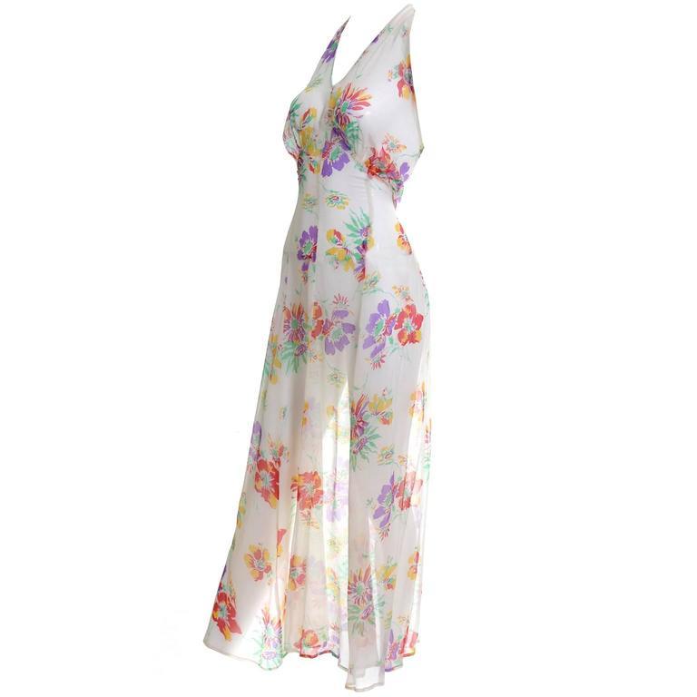 1930s Vintage Dress and Bolero Shrug Jacket Silk Chiffon Floral Bias Cut Halter  For Sale