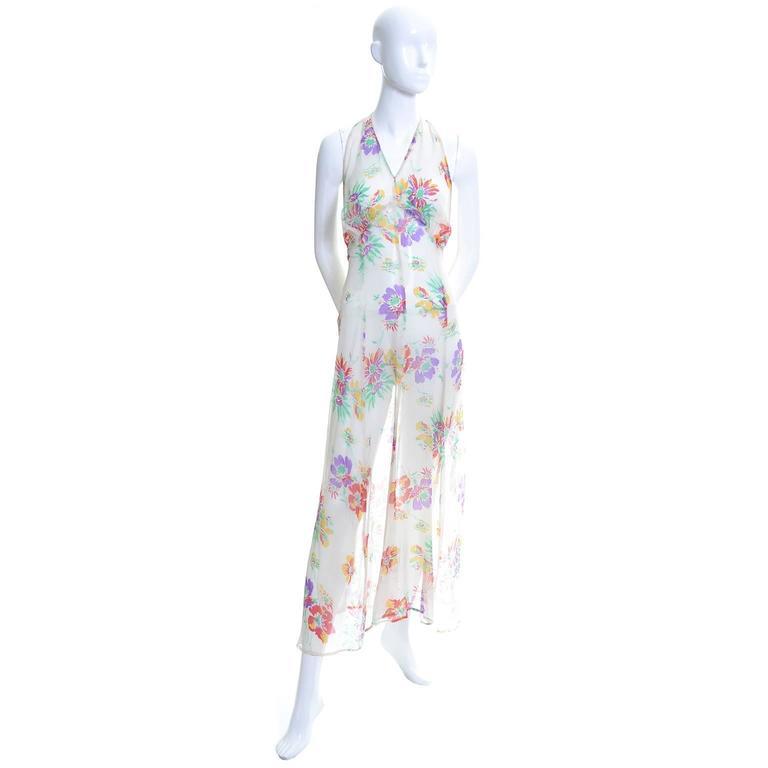 1930s Vintage Dress and Bolero Shrug Jacket Silk Chiffon Floral Bias Cut Halter  For Sale 1
