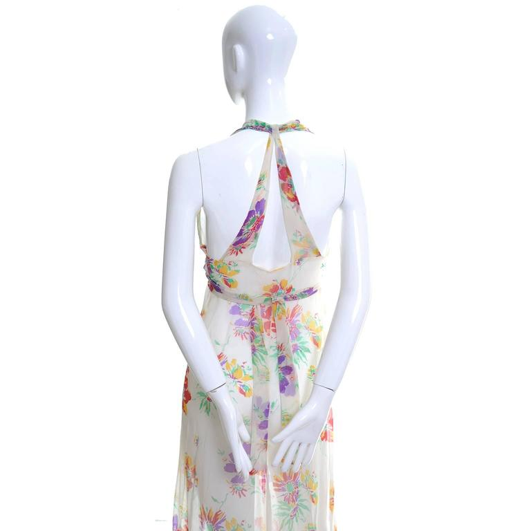 1930s Vintage Dress and Bolero Shrug Jacket Silk Chiffon Floral Bias Cut Halter  For Sale 2