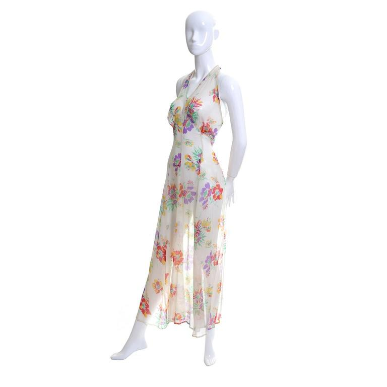 Women's 1930s Vintage Dress and Bolero Shrug Jacket Silk Chiffon Floral Bias Cut Halter  For Sale