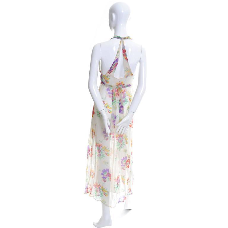Gray 1930s Vintage Dress and Bolero Shrug Jacket Silk Chiffon Floral Bias Cut Halter  For Sale