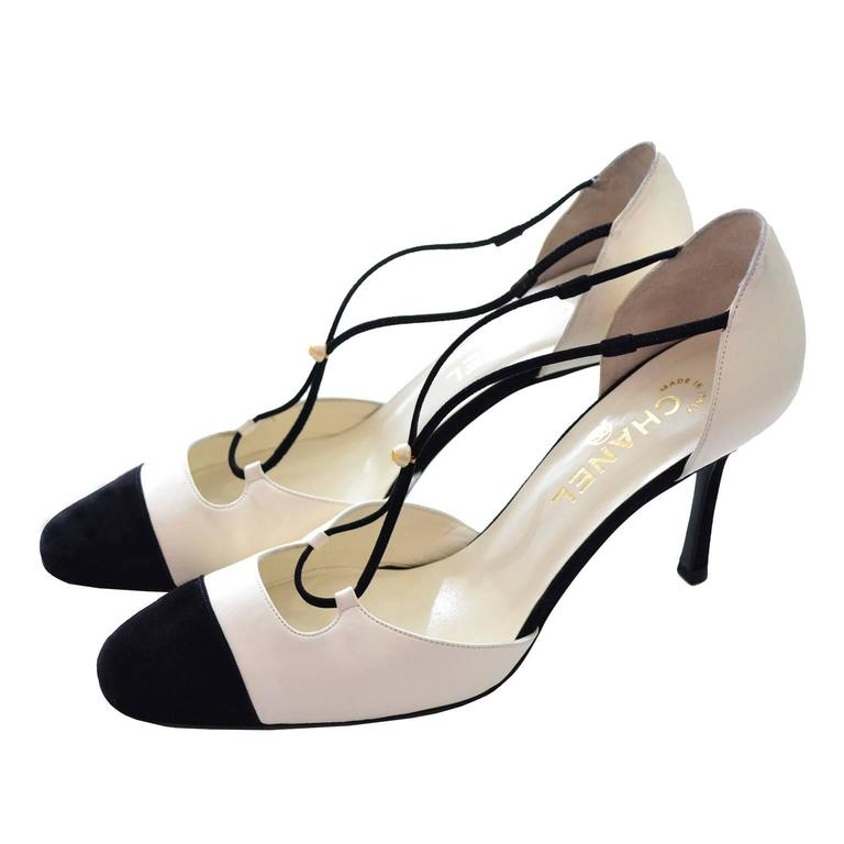 Chanel Ivory Leather Black Suede Cross Strap Heels Shoes In Box 39.5 Cap Toe
