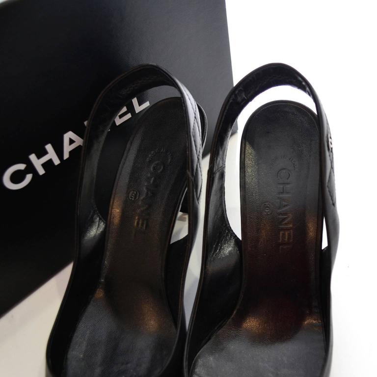 2000 Black Leather Chanel Slingbacks Shoes Heels Size 40 Quilted Strap In Box For Sale 3