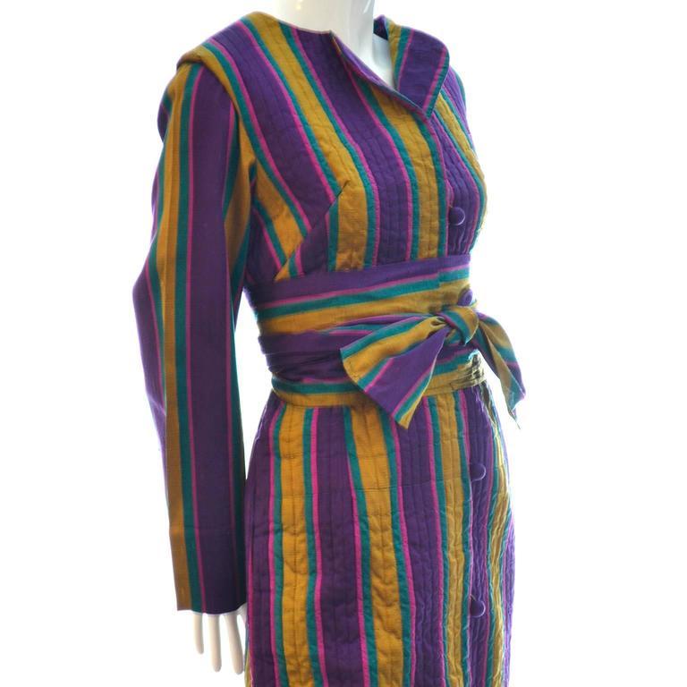 1970s Bohemian Vintage Striped Silk Caftan From Saks Fifth