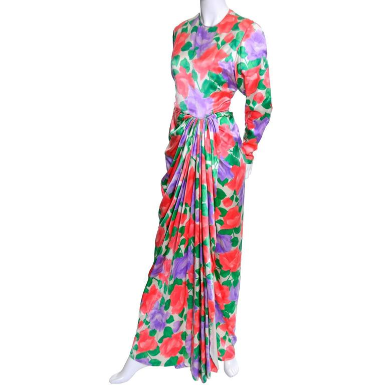 Galanos Silk Vintage Dress Floral Draping Lined Exquisite Formal Gown In Excellent Condition For Sale In Portland, OR